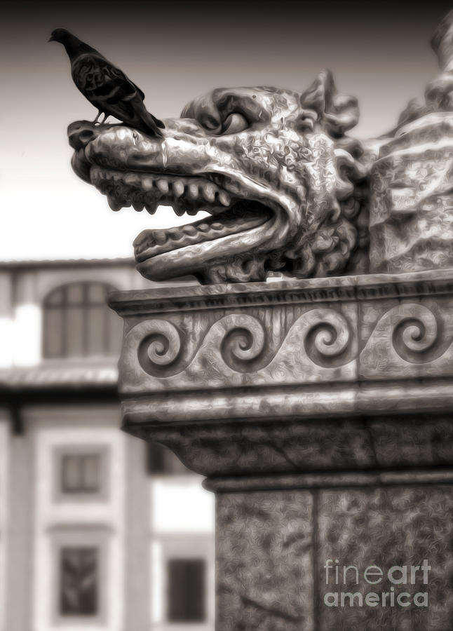 Gargoyle Painting - Gargoyle And Pidgeon - Sepia by Gregory Dyer
