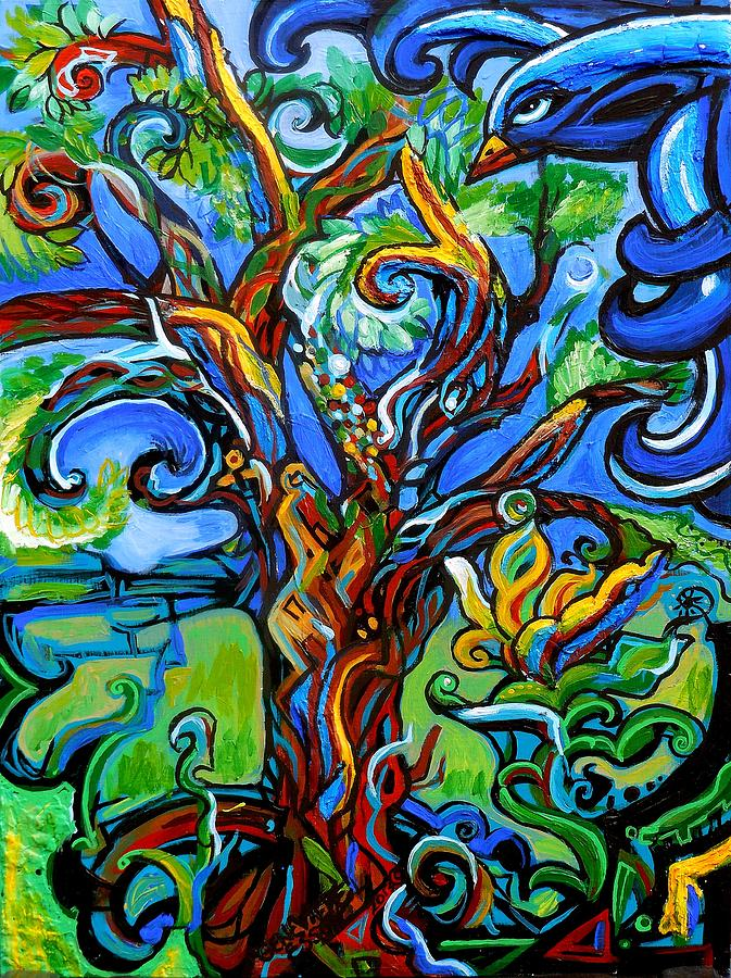 Tree Painting - Gargoyle Tree With Crow by Genevieve Esson