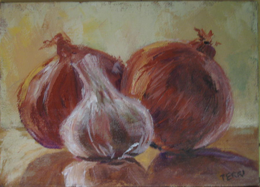 Garlic And Onions Painting by Terri Messinger