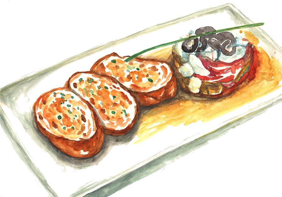 Garlic Toast With Olive Salad Digital Art by Kana hata