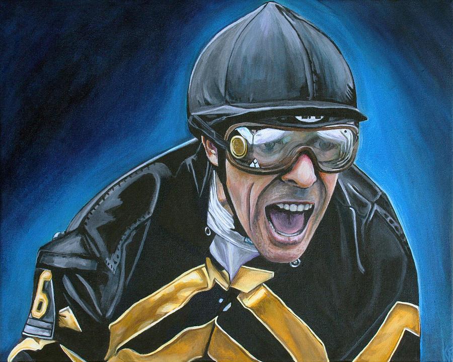 Jockey Painting - Gary Stevens by Kate Fortin