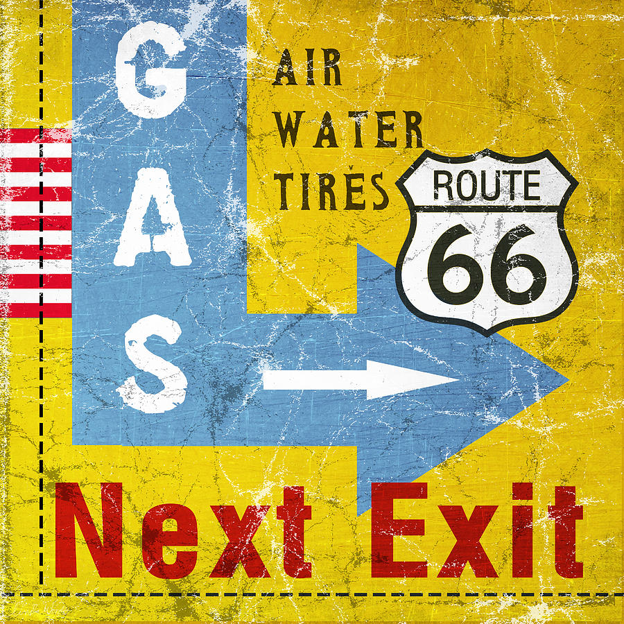 Gas Next Exit- Route 66 Painting