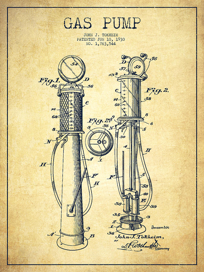 Gas Pump Digital Art - Gas Pump Patent Drawing From 1930 - Vintage by Aged Pixel