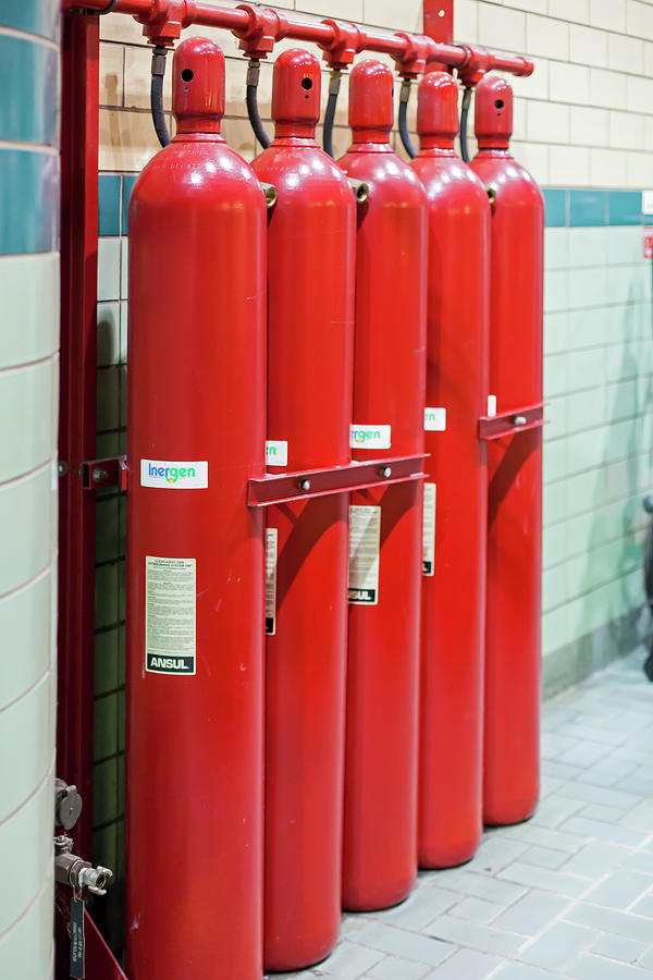 2016 Photograph - Gaseous Fire Suppression Cylinders by Jim West