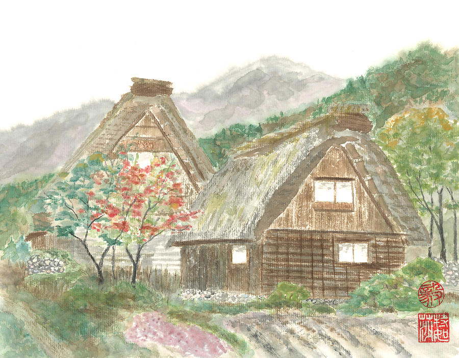 Japanese Painting - Gassho-zukuri Home by Terri Harris