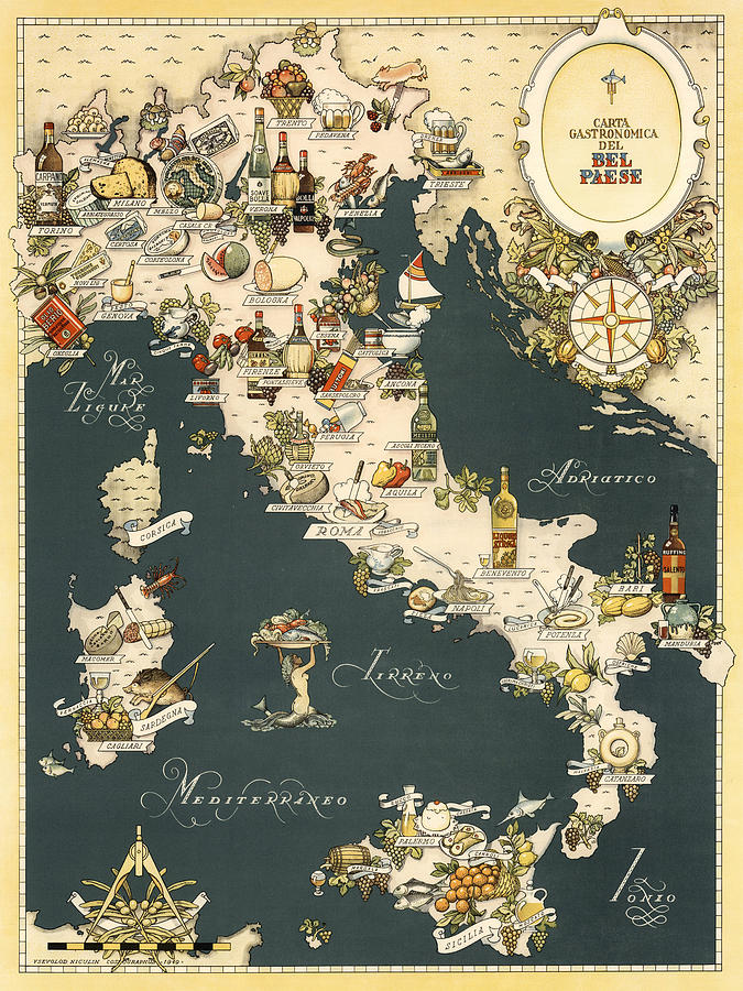 Italy Map Wall Art.Gastronomic Map Of Italy 1949 Photograph By Andrew Fare