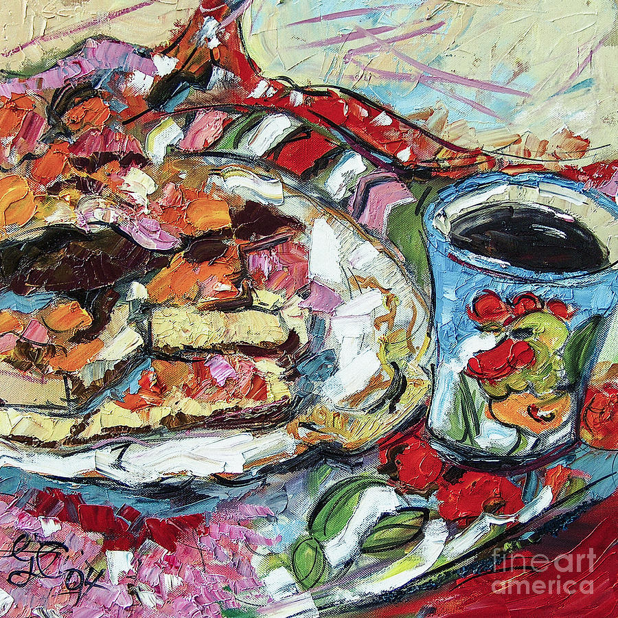 Gateaux and my Rooster Mug Painting by Ginette Callaway