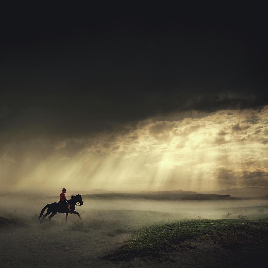 Horses Photograph - Gateaway by H?seyin Ta?k?n