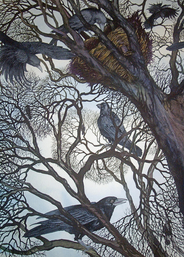 Crows Painting - Gathering A Murder Of Crows I by Helen Klebesadel