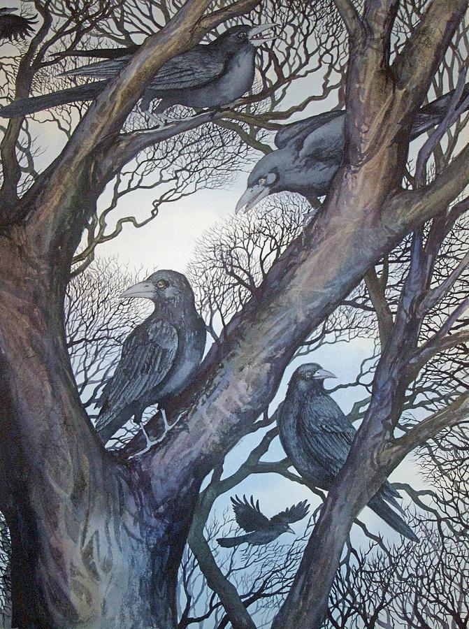 Crows Painting - Gathering A Murder Of Crows II by Helen Klebesadel