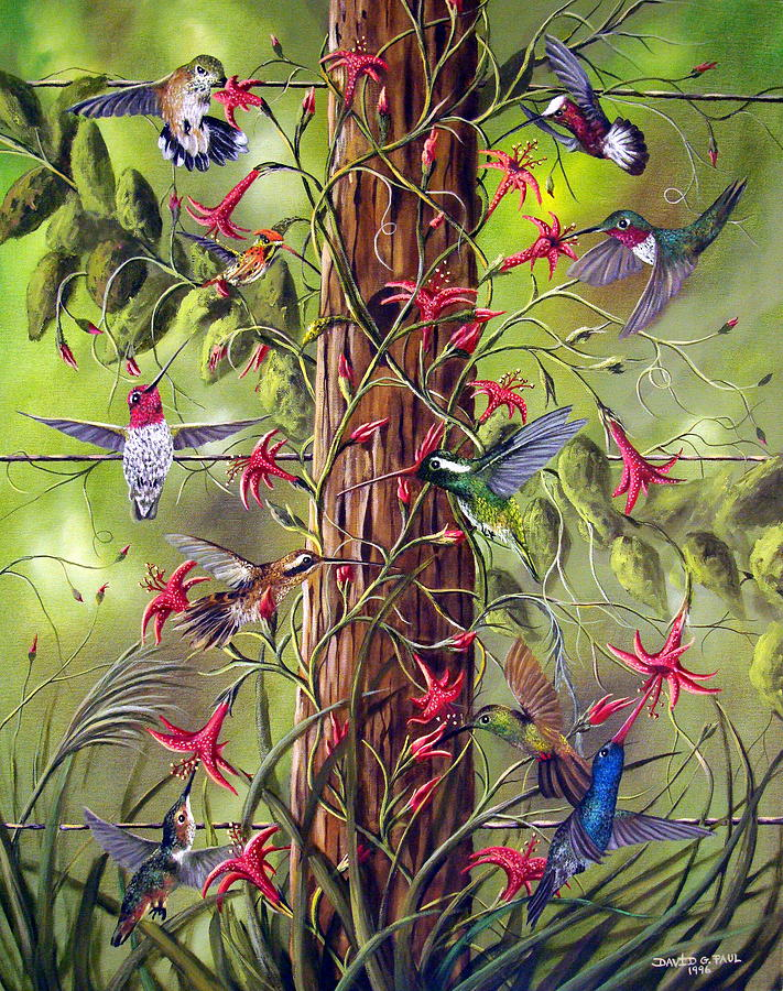 Birds Painting - Gathering At The Fencepost by David G Paul