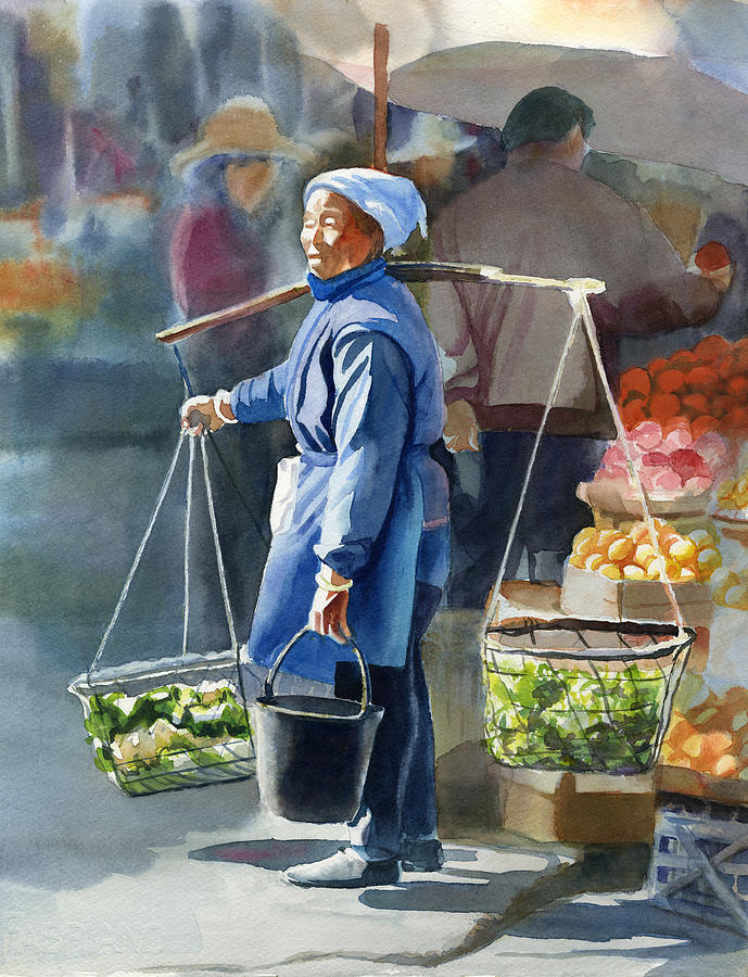 Chinese Painting - Gathering Greens by Sharon Freeman