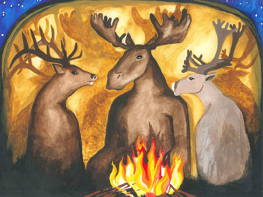 Sacred Fire Painting - Gathering Of Ancestors by Cat Athena Louise