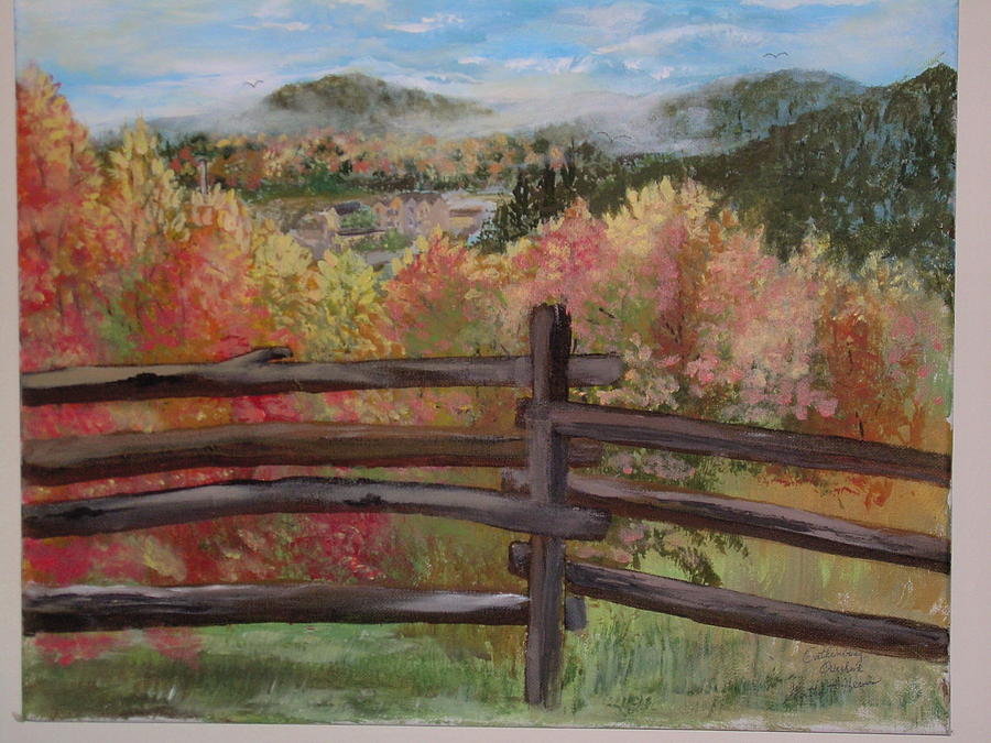 Smokey Mountains Painting - Gatlinburg Overlook Smokey Mts. by Marty Hermes