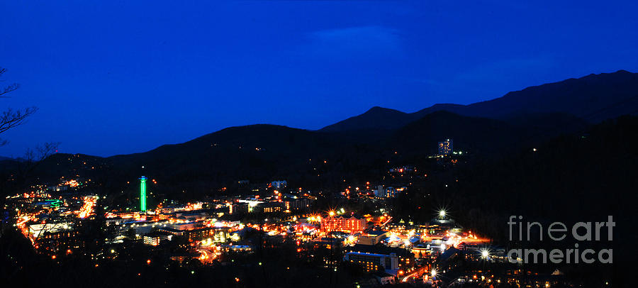 Gatlinburg Photograph - Gatlinburg Skyline At Night by Nancy Mueller