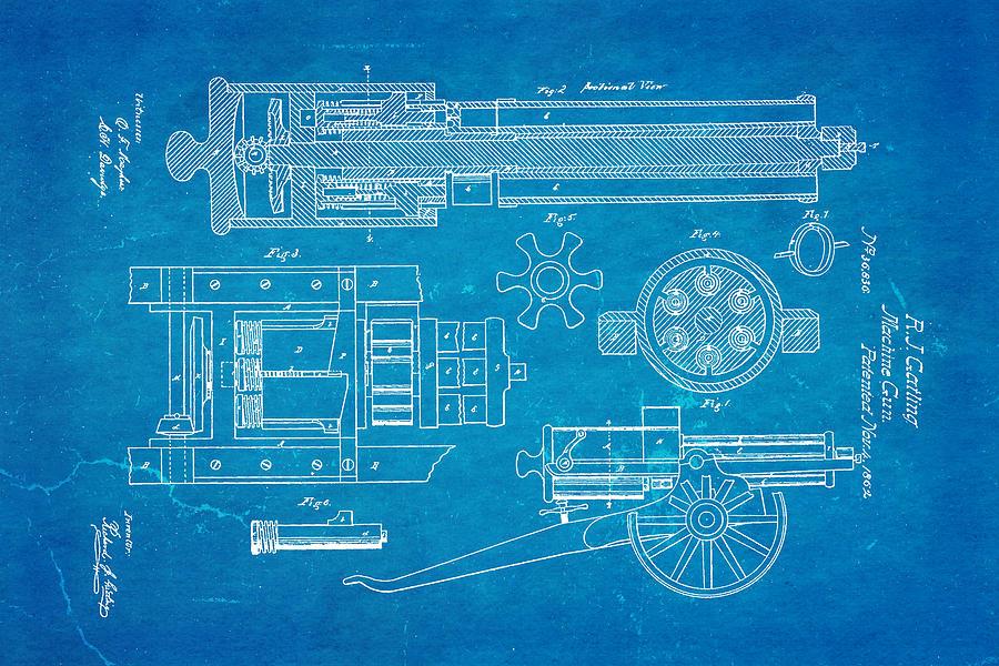 Gatling machine gun patent art 1862 blueprint photograph by ian monk engineer photograph gatling machine gun patent art 1862 blueprint by ian monk malvernweather Choice Image