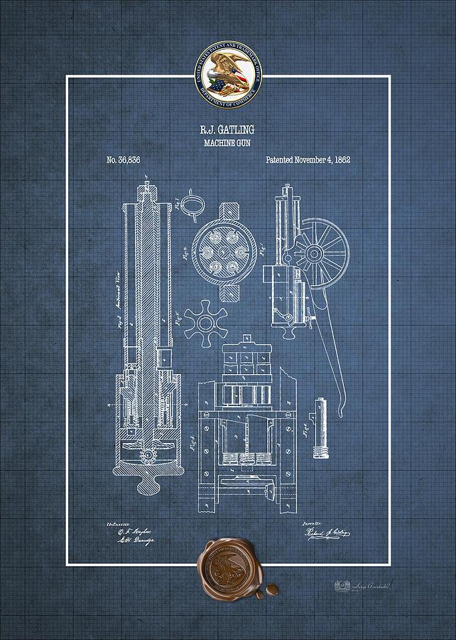 Gatling machine gun vintage patent blueprint digital art by serge vintage americana digital art gatling machine gun vintage patent blueprint by serge averbukh malvernweather Choice Image