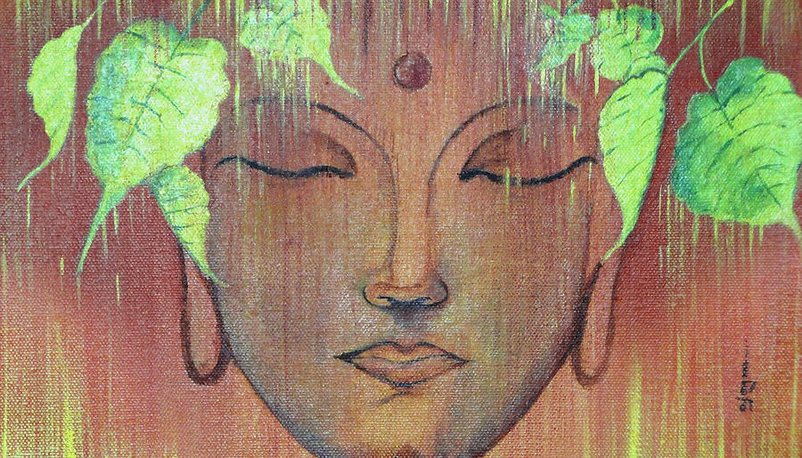Gautam Buddha With Green Pipal Leafs Painting By Ajay Mane