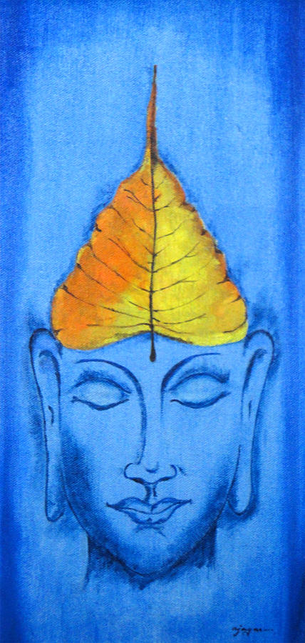 Gautam Buddha With Pipal Leaf Painting By Ajay Mane