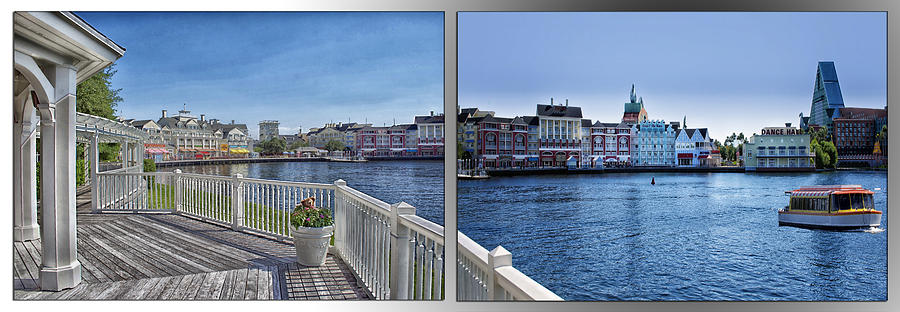 Castle Photograph - Gazebo 02 Disney World Boardwalk Boat Passing By 2 Panel by Thomas Woolworth
