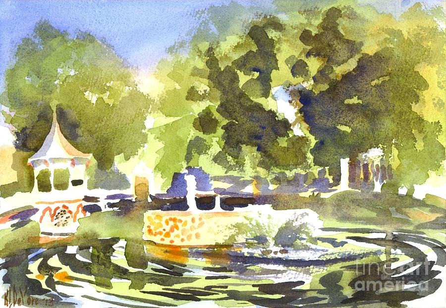 Fountain Painting - Gazebo With Pond And Fountain II by Kip DeVore