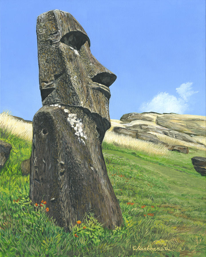 Easter Island Painting - Gazing by Brent Charbonneau