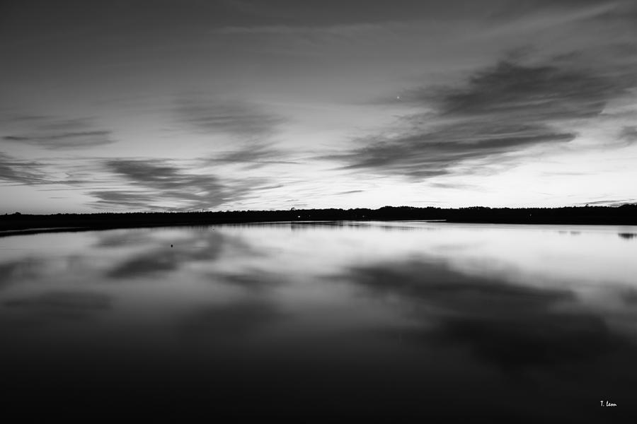 Black & White Photograph - Peaceful Sunset by Thomas Leon