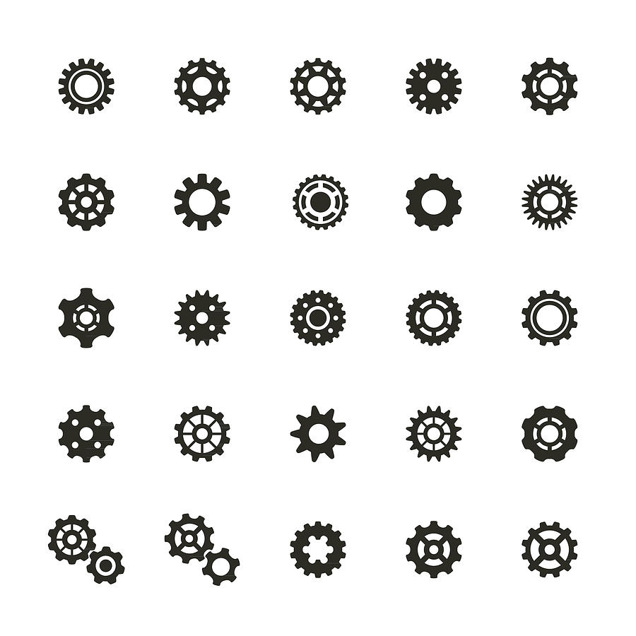 Gear Icons Set Drawing by Artvea