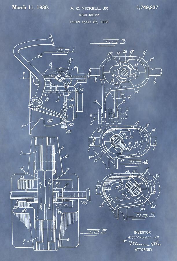 Gear Shift Mixed Media - Gear Shift Patent by Dan Sproul