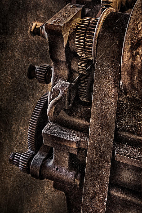 Abandoned Photograph - Gears And Pulley by Susan Candelario
