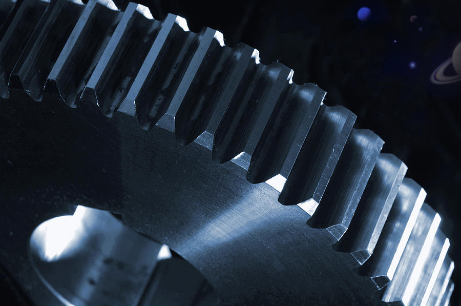 Gears Photograph - Gears Engineering In Space by Christian Lagereek
