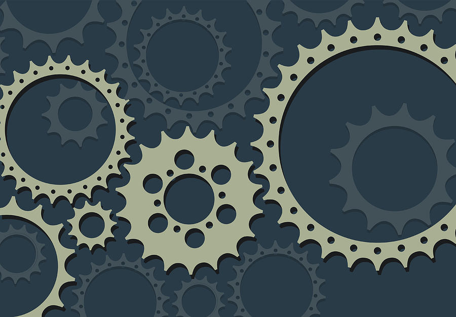 Gears in Flat Style Drawing by Youst