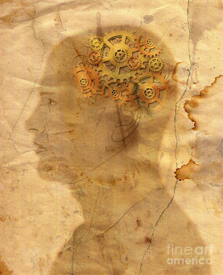 Head Digital Art - Gears In The Head by Michal Boubin