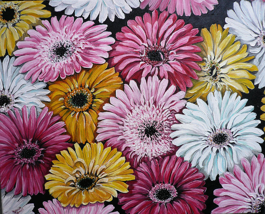 Gebera Daisies Painting by Karin  Dawn Kelshall- Best