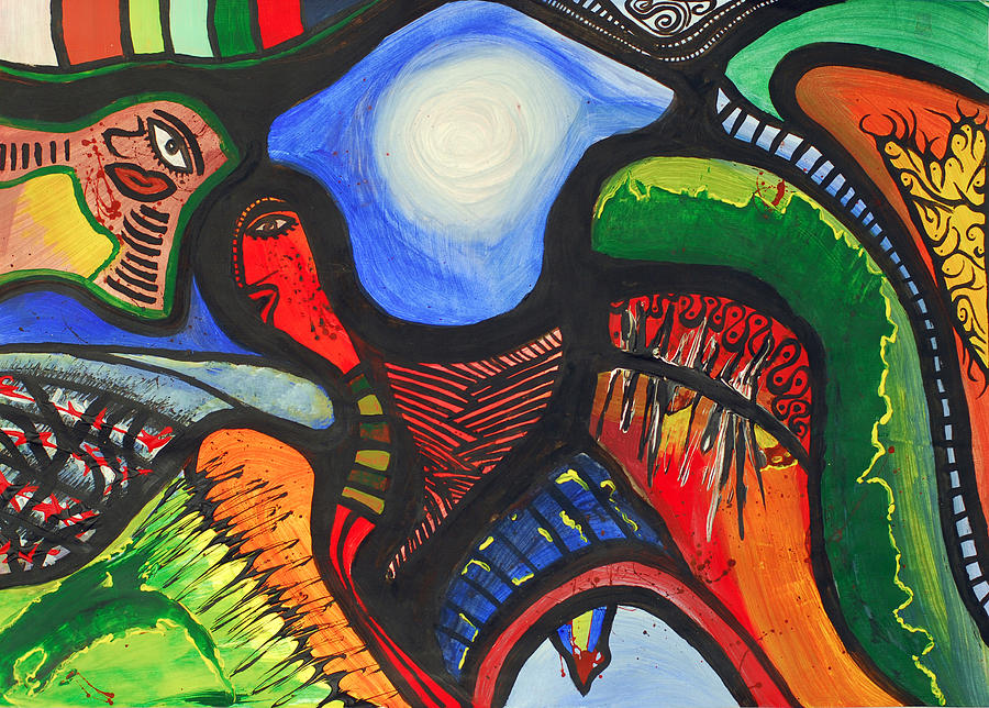Abstract Painting - Gedachten Gangen  by Zohra Boelhouwers