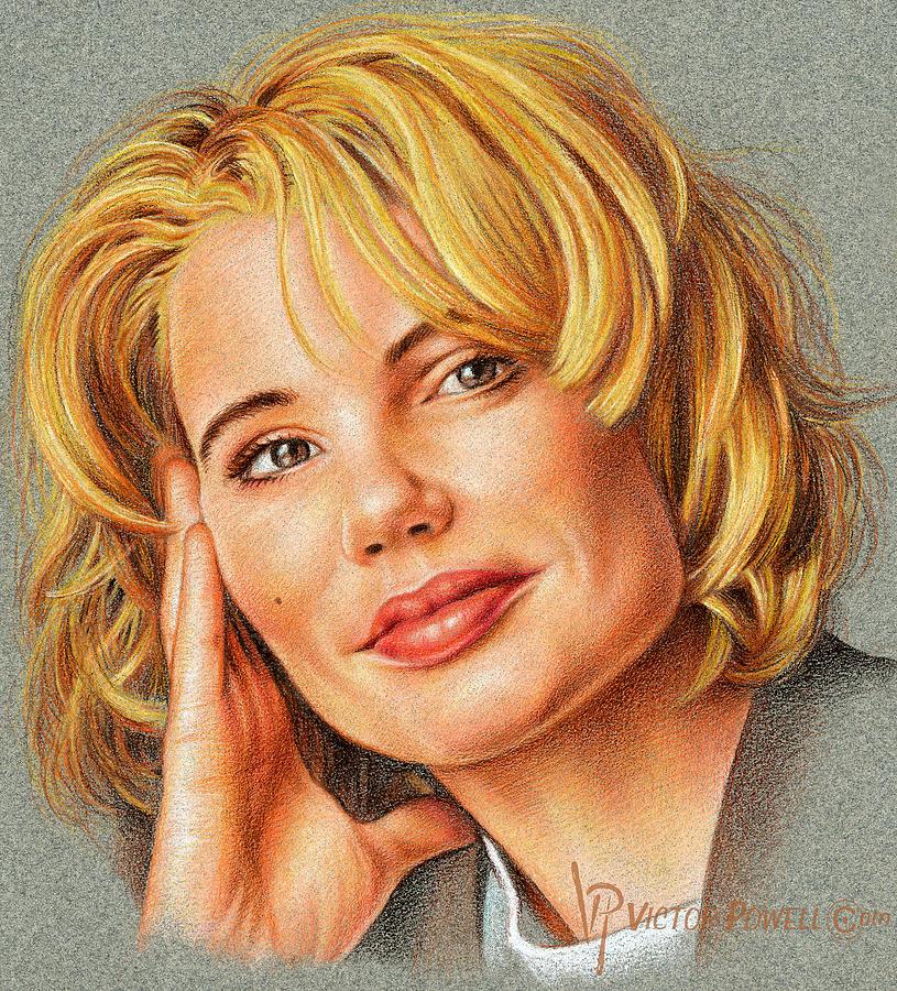 Geena Davis Drawing - Geena Davis Portrait by Victor Powell