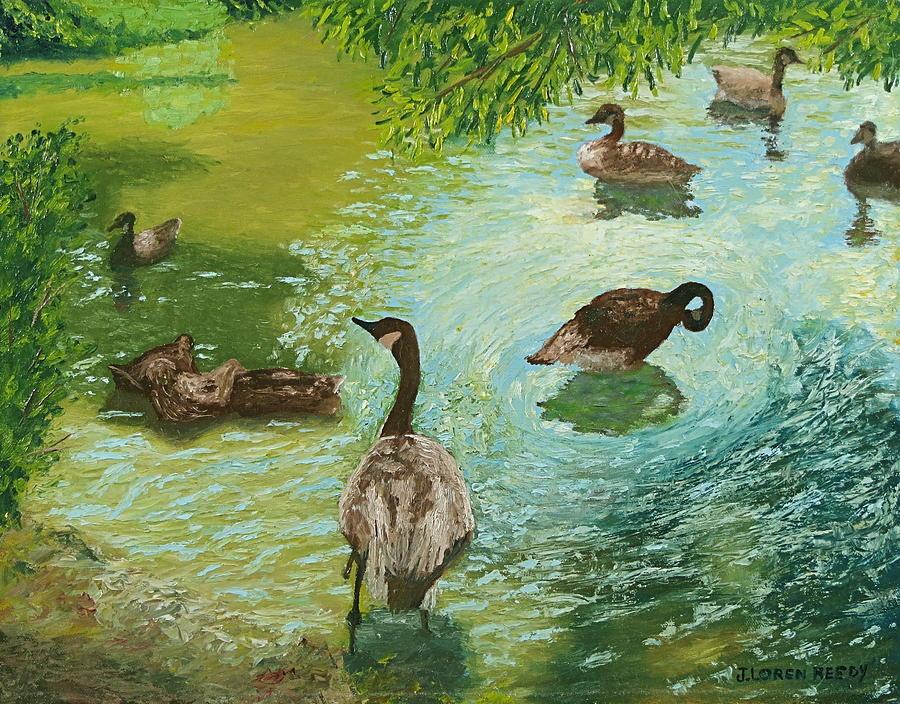 Geese in Water by J Loren Reedy