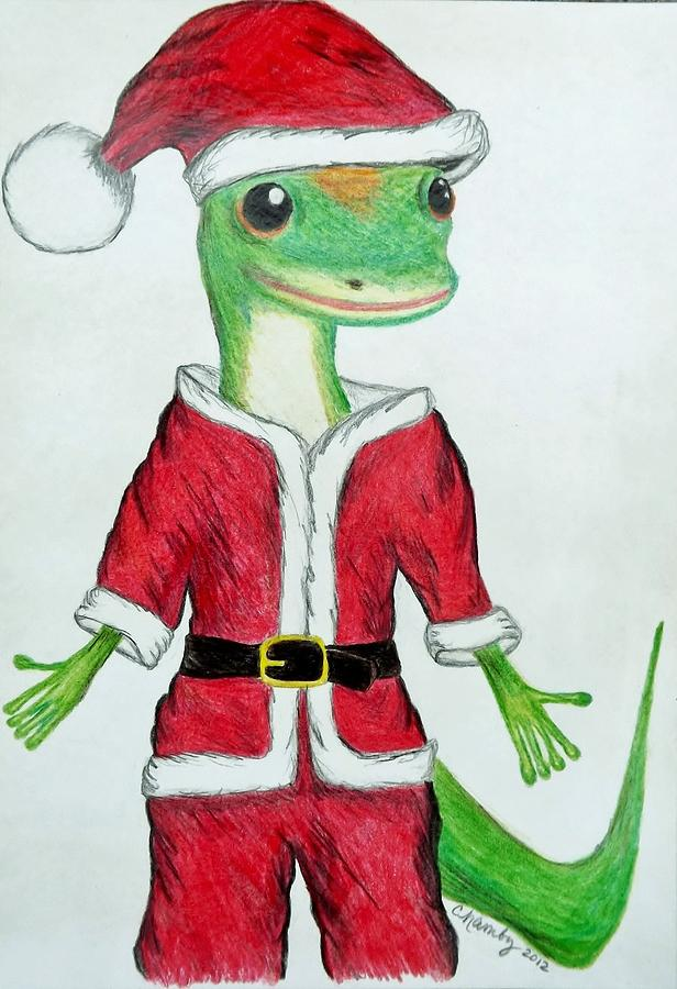 Geico Drawing - Geico Santa by Carol Hamby