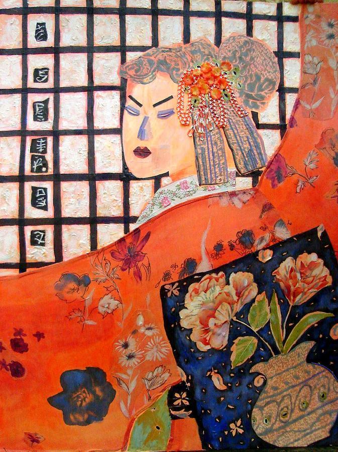 Portrait And Still Life Mixed Media - Geisha Girl by Diane Fine
