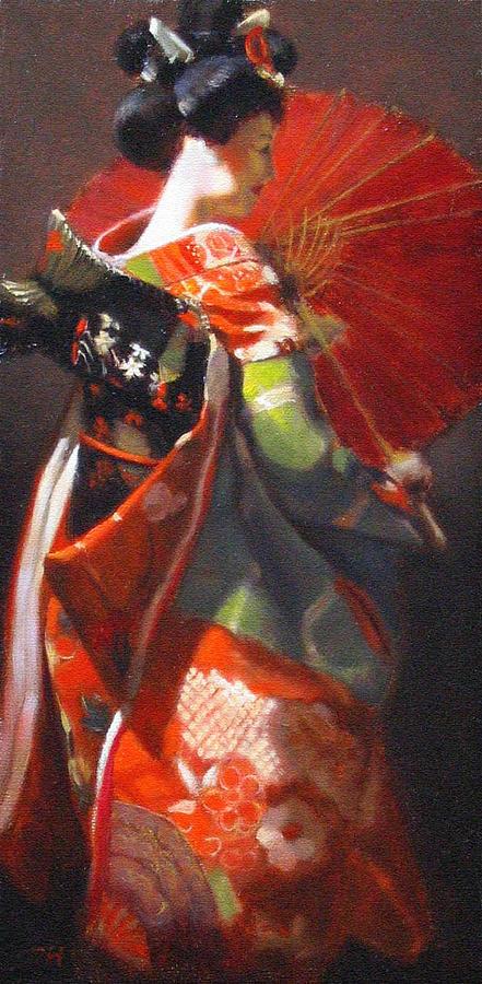 Remarkable, Genuine woodprint painting of geishas