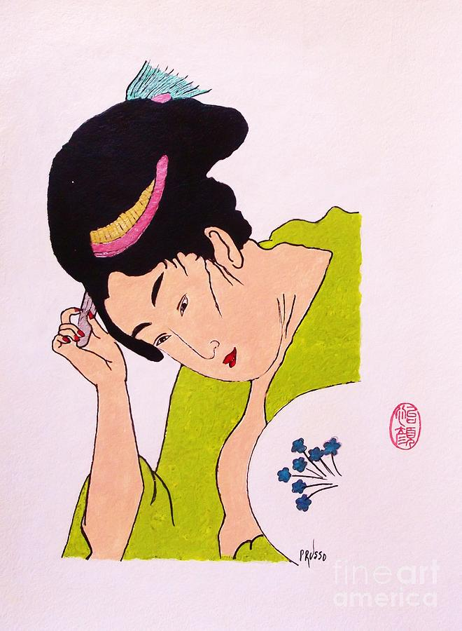 Figurative Painting - Geisha Hair Dressing by Roberto Prusso