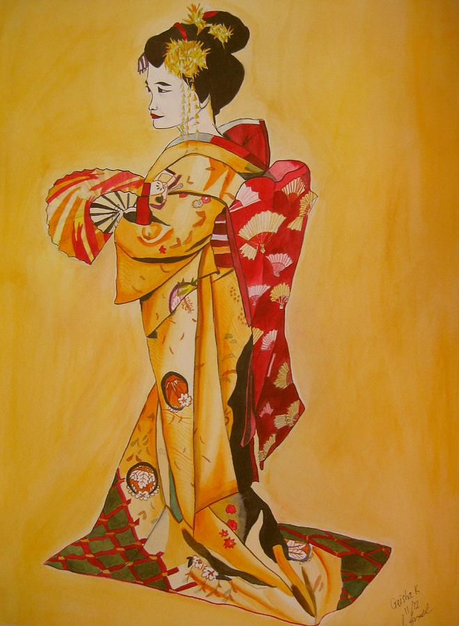 Geisha Painting - Geisha in Gold Kimono by Sacha Grossel