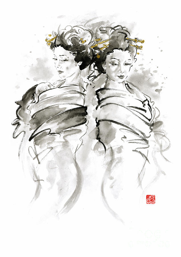 Sumi E Painting - Geisha Japanese Women Woman In Kimono Traditional Original Japan Painting Art Hair Pin Style Design  by Mariusz Szmerdt