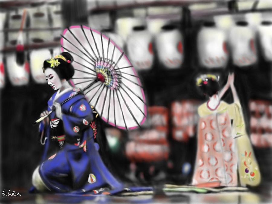 Ipad Painting - Geisha No.109 by Yoshiyuki Uchida