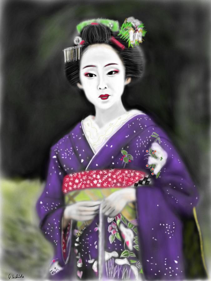 Ipad Painting - Geisha No.117 by Yoshiyuki Uchida