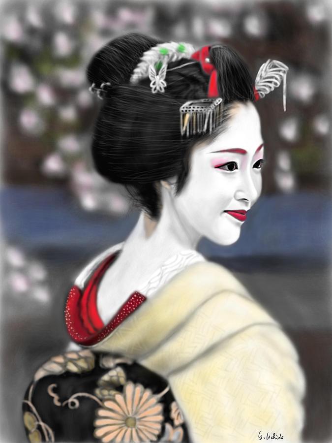 Ipad Painting - Geisha No.127 by Yoshiyuki Uchida