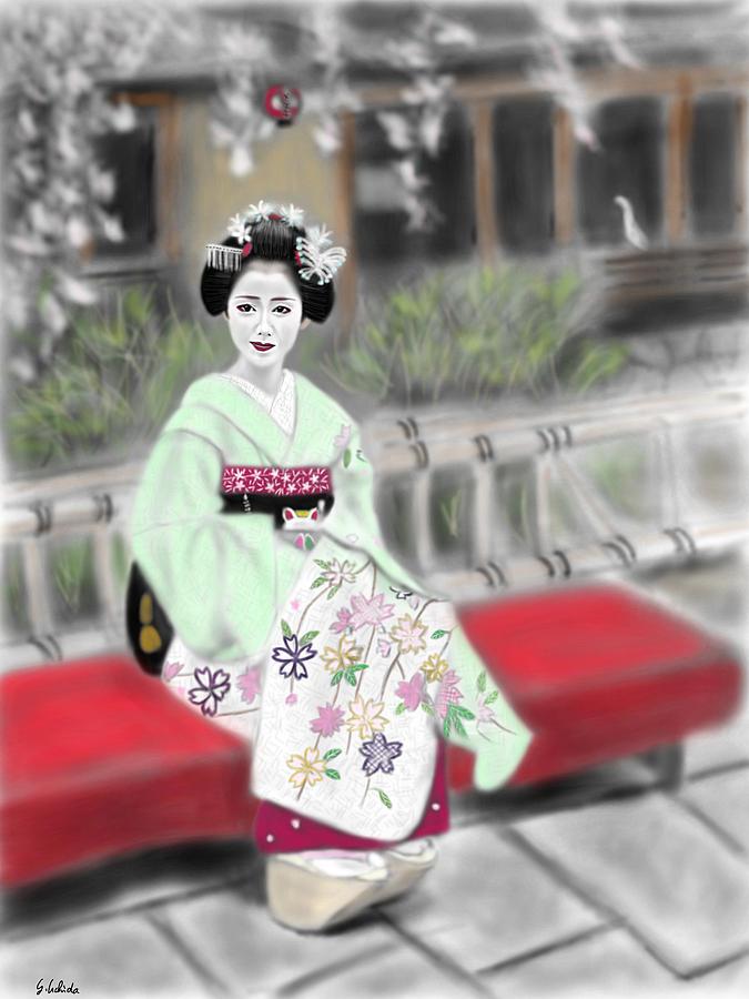 Ipad Painting - Geisha No.141 by Yoshiyuki Uchida