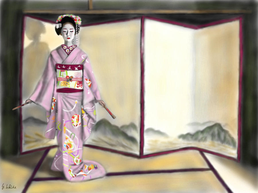 Ipad Painting - Geisha No.143 by Yoshiyuki Uchida