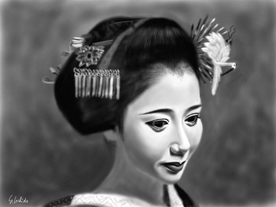 Ipad Painting - Geisha No.144 by Yoshiyuki Uchida