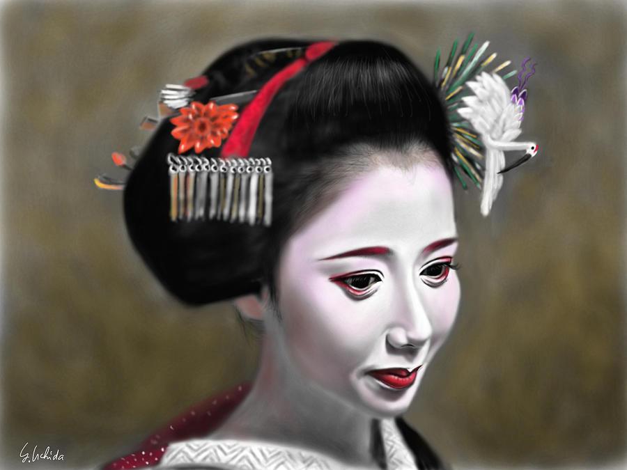 Ipad Painting - Geisha No.145 by Yoshiyuki Uchida